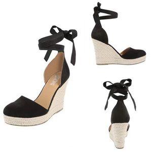 ff5ee0b8d96 BRASH Escape Espadrille Wedge Sandal-Black-Size 9W